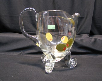 Vintage Painted Glass Martini Pitcher