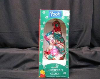 Disney Pooh, Piglet, Santa's Best Christmas Ornament European Hand Blown 1997