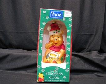 Disney Pooh Santa's Best Christmas Ornament European Hand Blown 1997