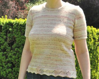 Short Sleeved Jumper with Lace Edging, T Shirt