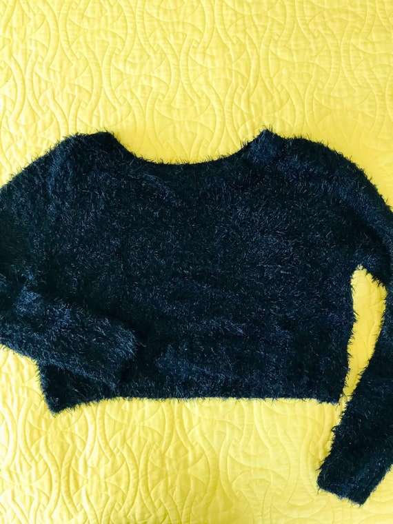 Black fuzzy cropped sweater
