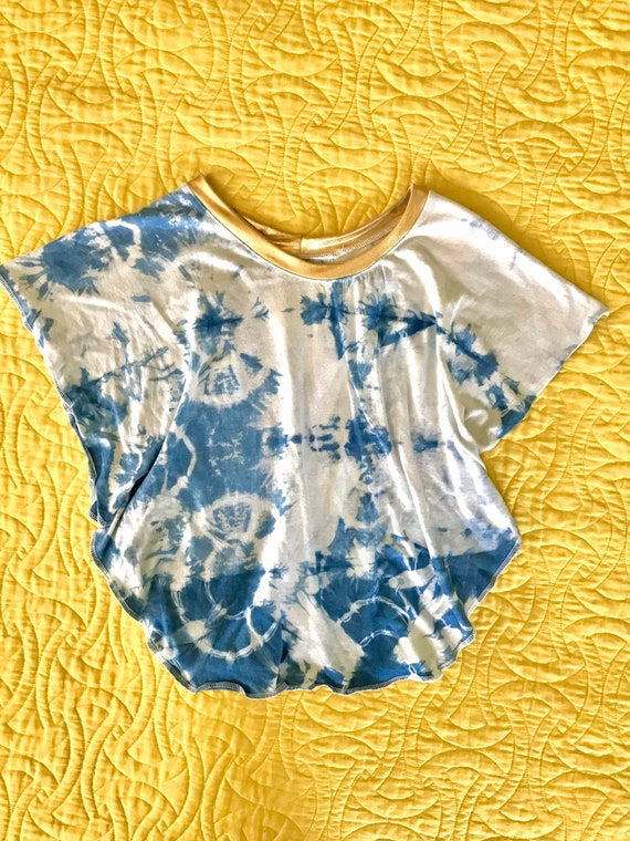 Shibori dyed gold collared top