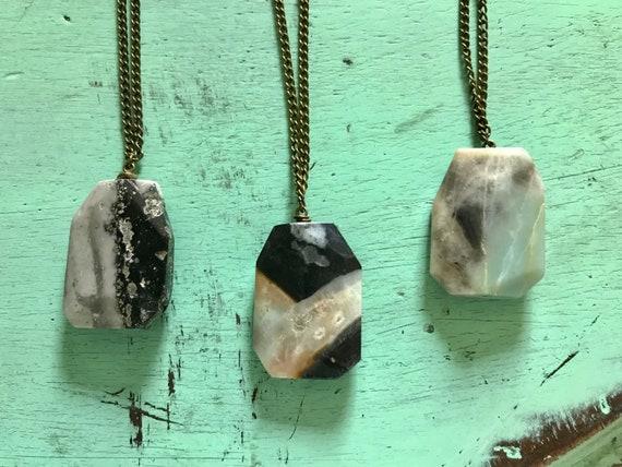 Black tourmaline and amazonite necklace