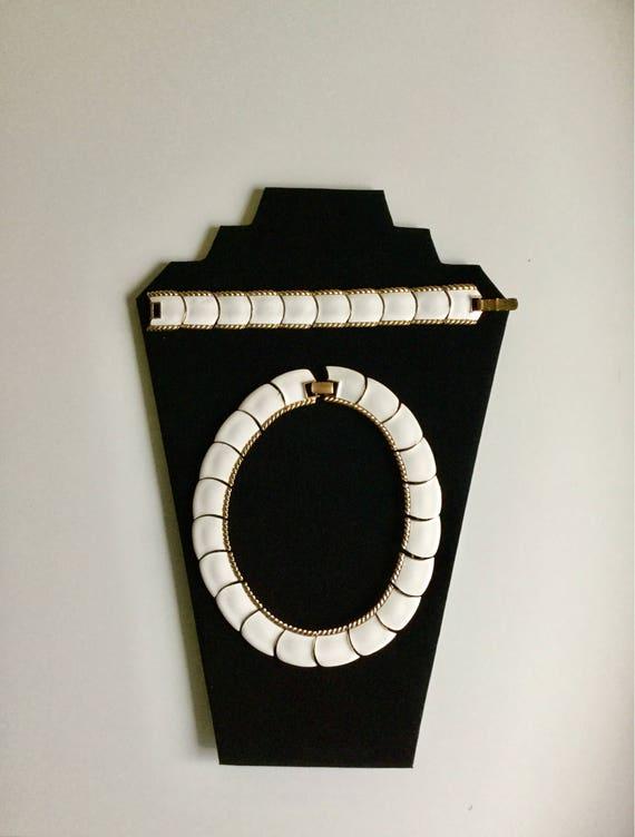 Vintage Butler Enamel Choker Necklace & Bracelet 1