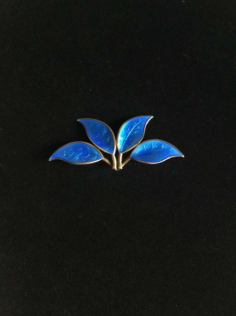 Vintage Norway Brooch David Andersen 4 Leaf Dark Blue Enamel on Silver