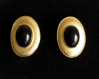 Modernist PAOLO Gucci Earrings Black Cabochons Set in Textured Gold