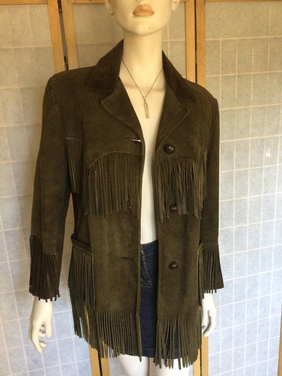 Vintage Suede Leather Jacket Fringe Sportsmaster