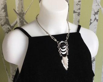 Vintage South American Bib Necklace Black Obsidian Alpaca Silver Fringe