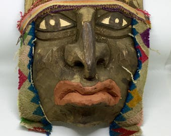 Vintage Tribal Ritual Mask Hand Carved Wood and Woven Fabric