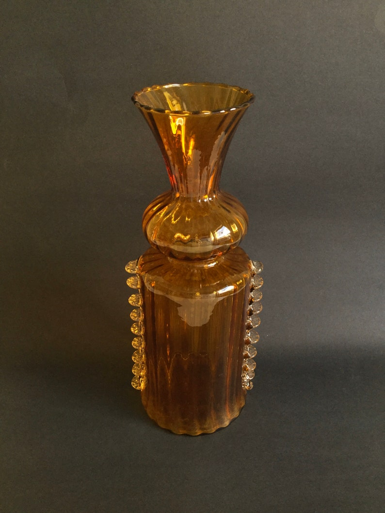 Mid Century Italian Glass Vase Amber with Ribbed Glass Sides