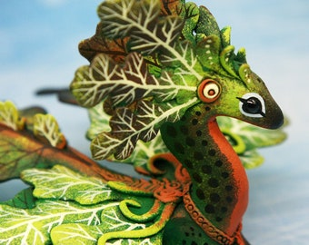 Oak Dragon Figurine Sculpture Fantasy Polymer Clay Casting Resin Figurines Monsters Creature Autumn Leaf clay dragon