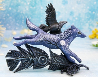 Running Wolf With Raven Totem Figurine Animal Sculpture Crow Gothic Decor Wolf Art Figures polymer clay animals