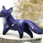 Space Fox Figurine Animal Miniature Sculpture Fantasy Fox Decor Clay Red Fox Totem polymer clay animals figures velvet clay resin casting