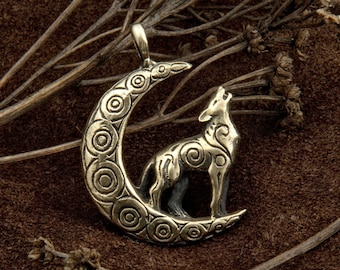 Wolf and Moon Necklace bronze pendant birthday gift
