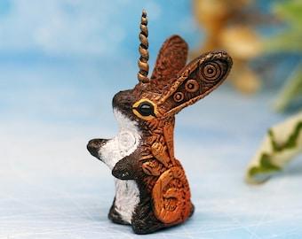 Unicorn Jackalope Cryptid Figurine Jack Rabbit Cryptozoology Bunny Animal Totem Sculpture clay figures, resin casting, polymer clay animals