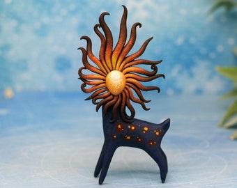 New! Solar Spirit Deer Figurine Primitive Decor Animal Sculpture Woodland Creature Art Totem