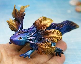 Cute Axolotl Figurine Animal Sculpture Biomechanical Salamander Creature Decor Polymer Clay Animals Clay Figures Casting Resin