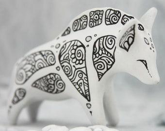 Hyena Figurine Zen Doodle Animal Totem Fantasy Sculpture Christmas Toy Guardian Spirit Amulet Shamanic Native
