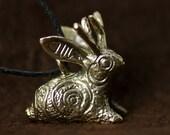Jackalope bunny pendant bronze necklace