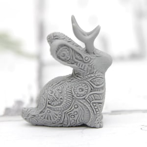 Delivery time extended Paintable Tiny Jackalope Cryptid Jack Rabbit Cryptozoology Sculpture