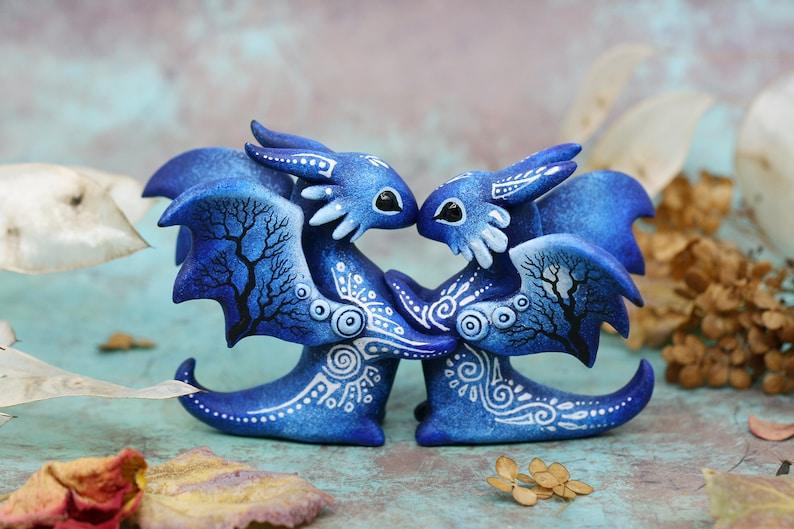 Wedding Cake Topper Couple Dragons Love Figurine Valentine image 0