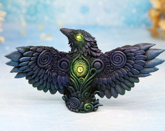Raven Sculpture Crow Figurine Polymer Clay Bird Halloween Crow Decor Crow Statue Miniature Shamanic Art Polymer Clay Animals Clay Figurines