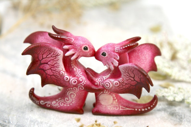 Wedding Cake Topper Couple Space Dragons Love Figurine image 0