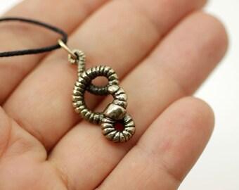 Earthworm bronze pendant necklace