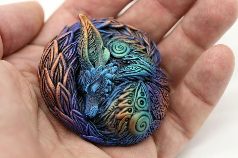 Fantasy Sleeping Fox Figurine Miniature Totem Figurine image 0