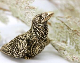 Bronze Raven Crow Bird Totem Halloween Figurine Fantasy Sculpture Guardian Spirit Amulet Shamanic Native