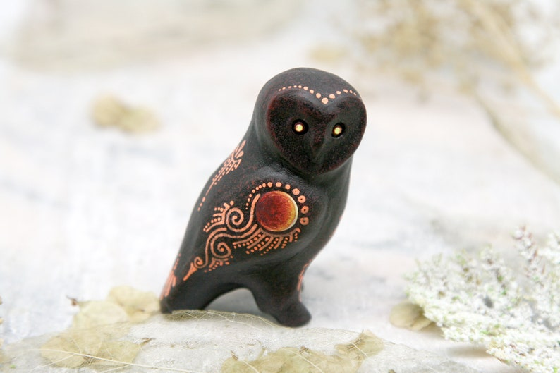 Barn Owl Figurine Bird Sculpture Totem polymer clay figures image 0