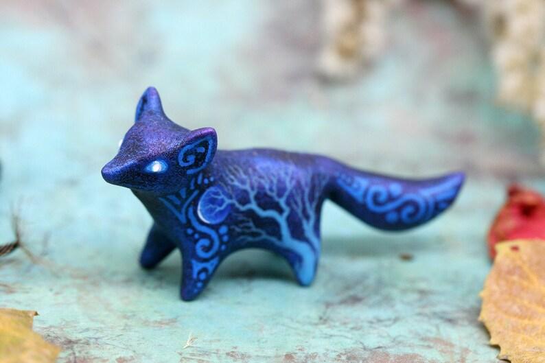 Christmas Fox Figurine Animal Sculpture Totem Shamanic Pagan image 0