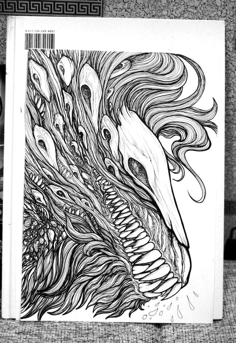 Kleurplaten Van Het Huis Anubis.Volwassen Kleurplaten Pagina Fantasy Schepsel Liontari Doodle Etsy