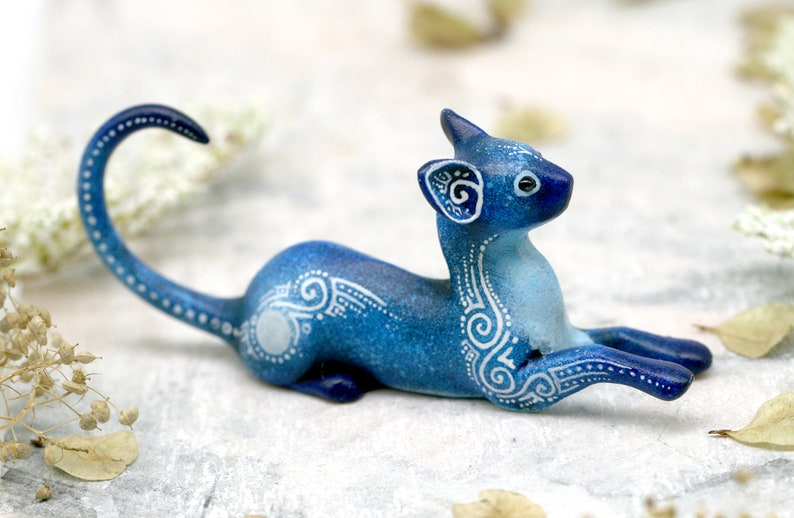 Cat Figurine Animal Sculpture Pet Miniature polymer clay image 0