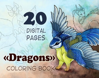 20 Dragons Coloring Book 20 pages 20 unique dragons lineart for digital or traditional painting PNG and JPG