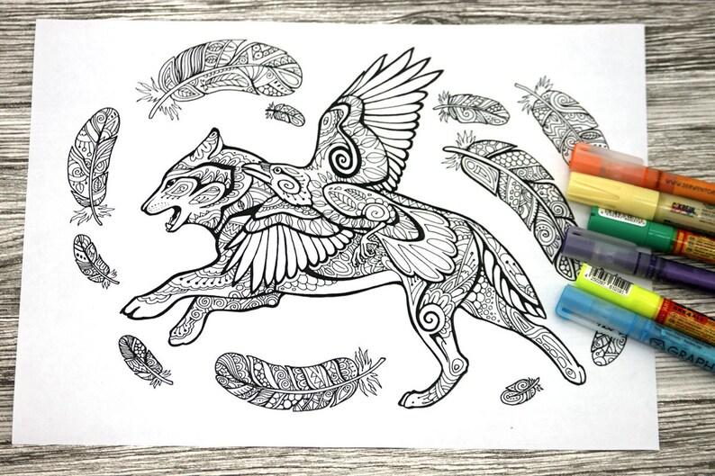 Coloriage Adulte Loup.Coloriage Adulte Page Loup Et Raven Doodle Coloriage Etsy