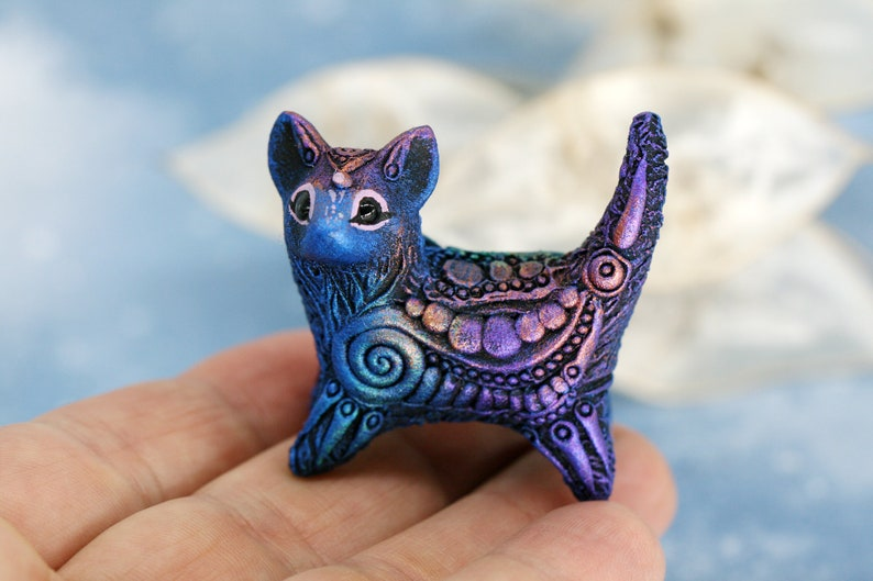 Cat Kitten Statue Animal Sculpture Pet Miniature Figurine image 0