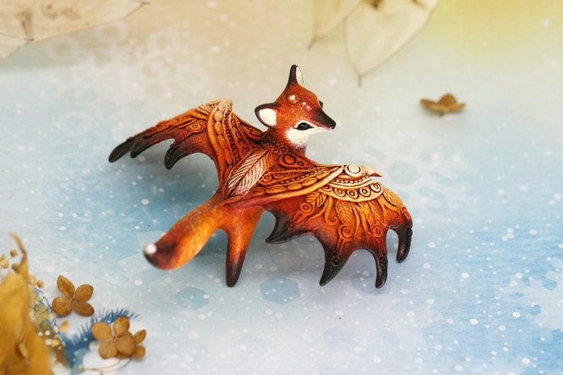 Winged Dragon Fox Figurine Animal Sculpture Totem Shamanic image 0