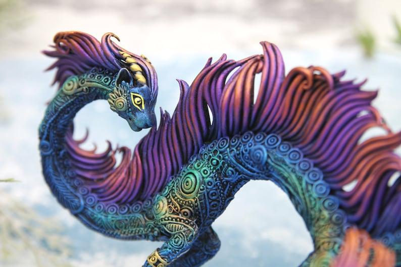 Cat Dragon Figurine Sculpture Polymer Clay Fantasy Animals image 0