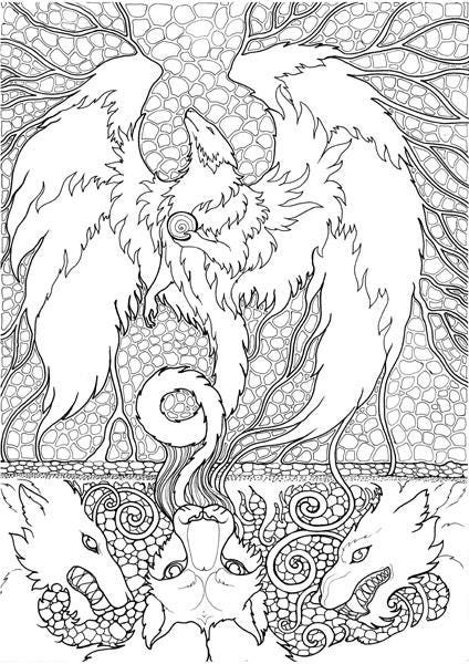 fantastic beasts coloring pages free | Adult Coloring Page Fantasy Beast Dragon Doodle Printable ...