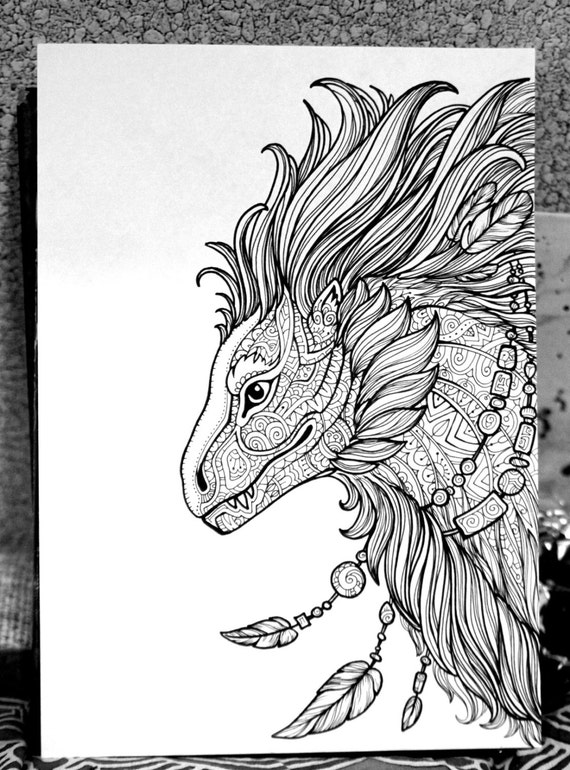 fantasy creatures coloring pages | Adult Coloring Page Fantasy Animal Frato Doodle Printable ...