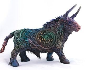 Fairy Bull figure, statue Ox, black Taurus ornamental, gift for men, Zodiac, Oriental horoscope