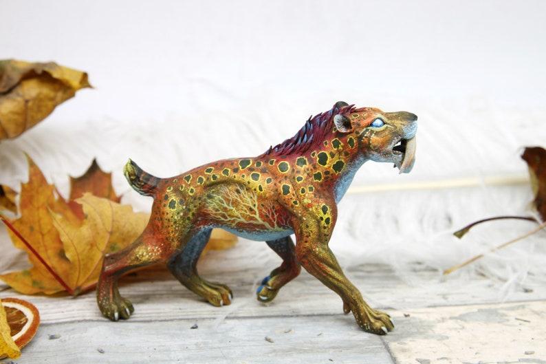 Smilodon Feral Cat Figurine Animal Sculpture African Safari image 0