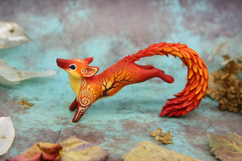 Christmas Fox Kitsune Figurine Animal Sculpture Red Fox Totem image 0