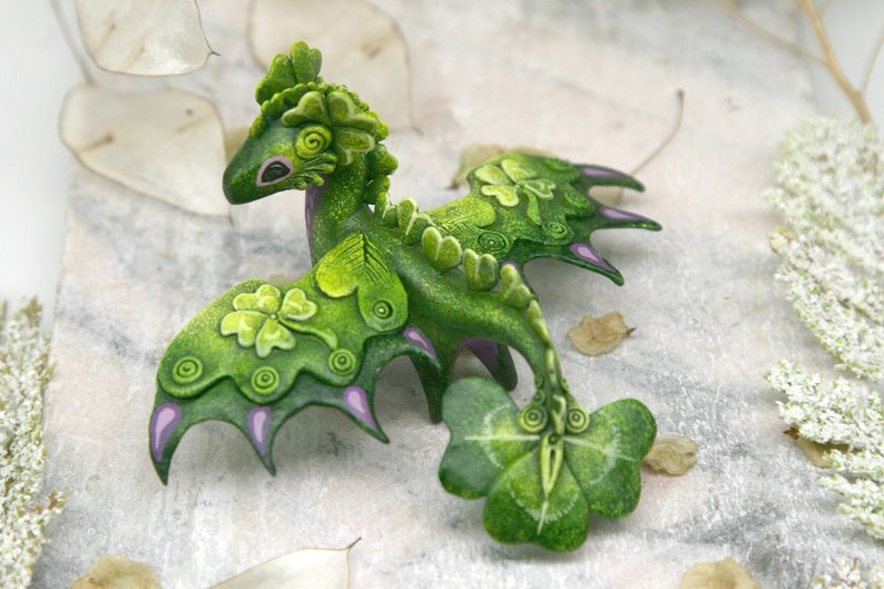 Clover Luck Dragon Sculpture St Patrick s Day Fantasy Creature image 0