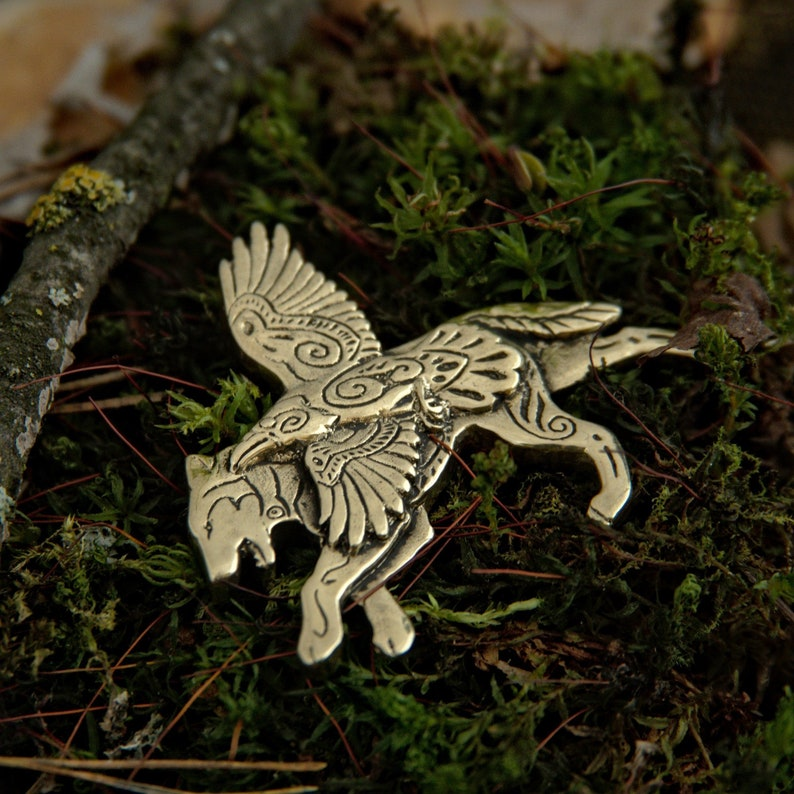 Wolf and Raven Necklace Jewelry Winged Wolf bronze pendant image 0