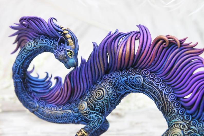 Cat Dragon Figurine Sculpture Polymer Clay Animals Decor image 0