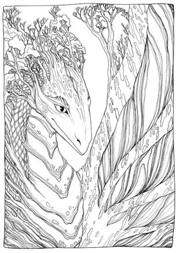 Adult Coloring Page Fantasy Tree-Dragon Doodle Printable ...
