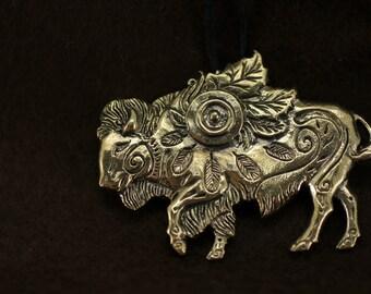Buffalo Bison bronze pendant necklace