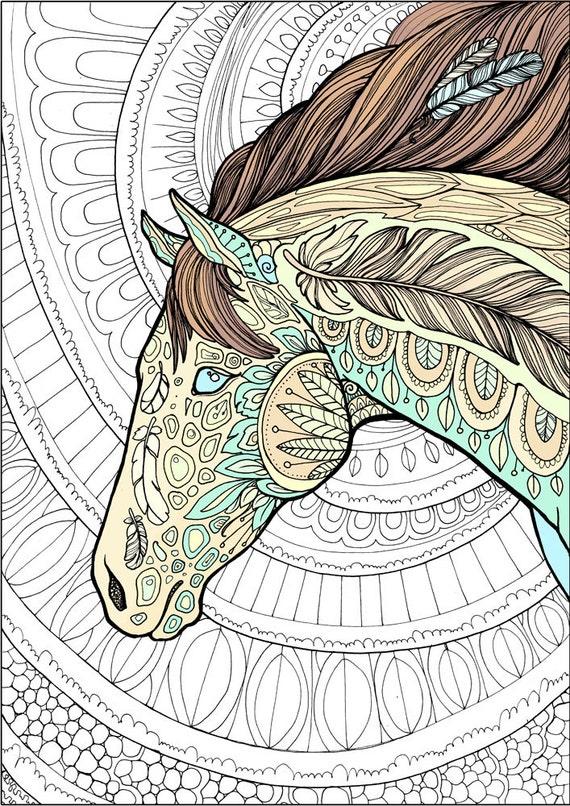Coloriage Cheval Zen.Adulte Coloriage Page Cheval Doodle Coloriage Imprimable Zen Doodle